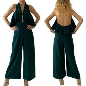 Zara Women Emerald Ruffle Halter Jumpsuit Size XS
